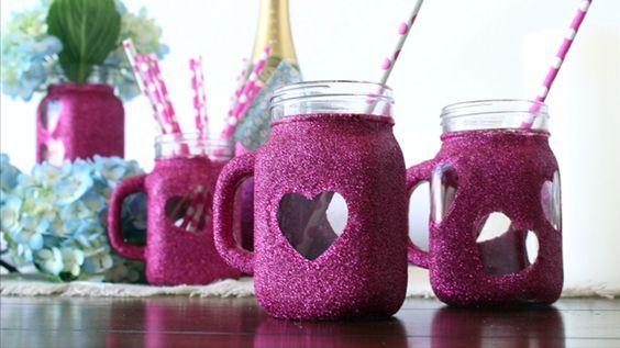 DIY Sparkle Mason Jar Mugs