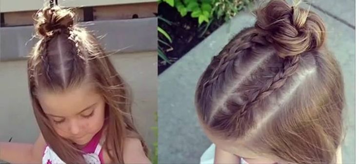How to do Dutch Braid Top Knot Bun For Little Girls > Beautiful DIY Hairstyles Step by Step