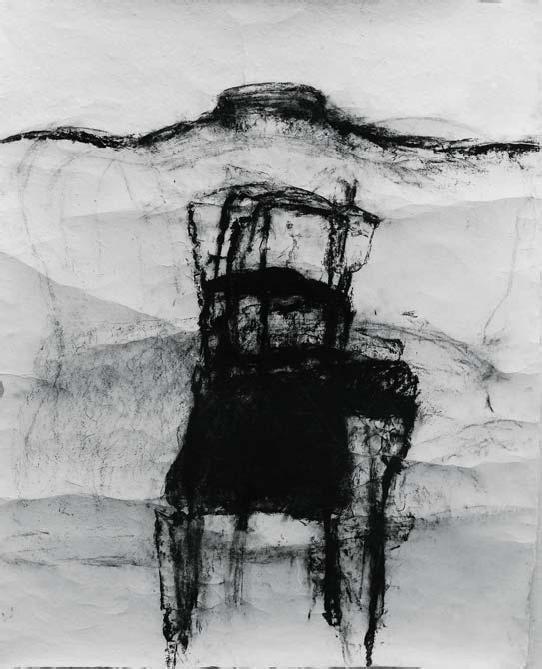 Adriena Šimotová: z cyklu Magie věcí VI (Židle – Pašije), 1991, frotáž, uhel, korejský ruční papír, 168 x 135 cm, Galerie Klatovy/Klenová