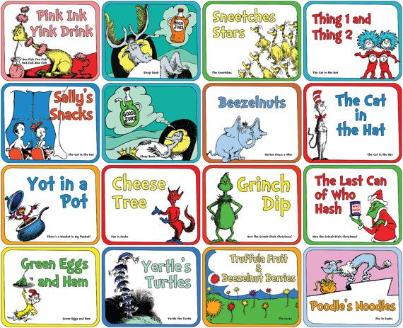 Printable Dr. Seuss food label set for Baby Showers or Birthdays. Classic set of 18 tags with characters from 11 Seuss books. NEW Classic Food Label Set by Ampersand Creations on Etsy.