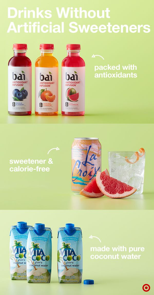 Stay on top of your New Year's goals with these better-for-you drink picks. You can't go wrong with La Croix. So many flavors and without any calories or sugar. Bai beverages are powered by coffeefruit, the fruit that surrounds a coffee bean. This sweet shell is packed with antioxidants. Plus, every Bai drink is made without artificial sweeteners. And Vita Coco Coconut Water is made with pure coconut water. Cheers.