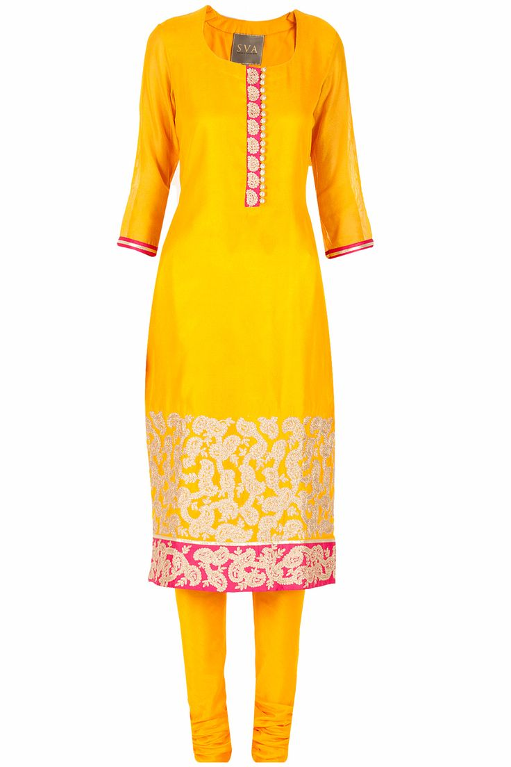 Yellow embroidered kurta set available only at Pernia's Pop-Up Shop.