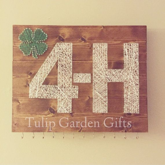 Wooden 4H String Art Ribbon Award Hanger Medal by TulipGardenGifts