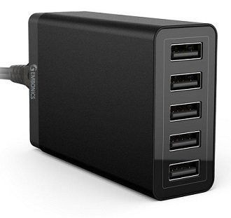 Gembonics® 40W High Speed 5 Port (8 Amps) Desktop USB Charger Travel Power Adapter with Auto Detect Technology