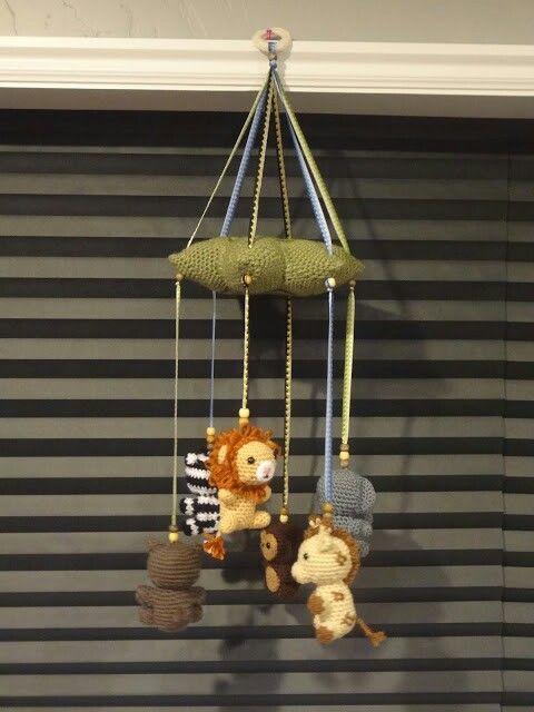 Crochet Jungle animals baby mobile