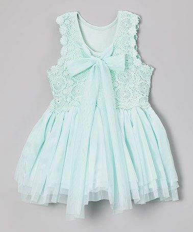 #zulily! Aqua Crochet Bow Babydoll Dress - Infant, Toddler & Girls #zulilyfinds