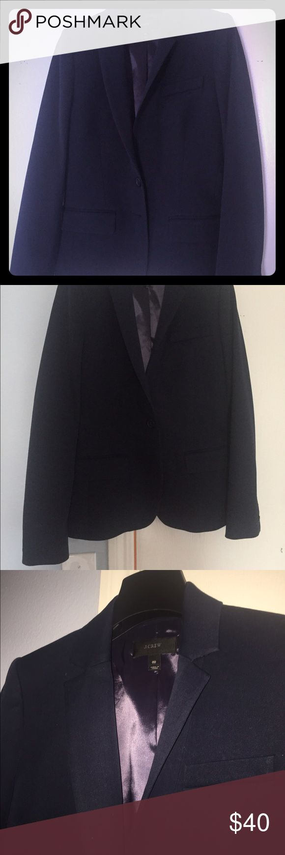 Chic J Crew Navy Suit Jacket / Blazer Classic chic J Crew Suit Jacket in Navy, size 00. In perfect condition, worn once. Will work with any J Crew Navy Suit pants or skirts, or is the perfect blazer for jeans or neutral colored pants. J. Crew Jackets & Coats