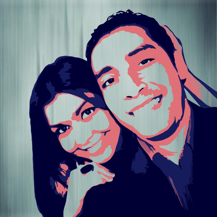 ilustracion vectorial, para una gran amiga y su esposo