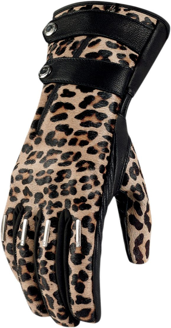 The Leopard print Icon 1000 Catwalk Women's Leather Motorcycle Gloves feature printed calfskin and Battlehide chassis which offers sumptuous protection and battle-ready performance. Catfights have never been so glamorous.