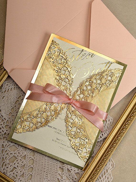 Custom listing 20 Gold and Peach Wedding por forlovepolkadots