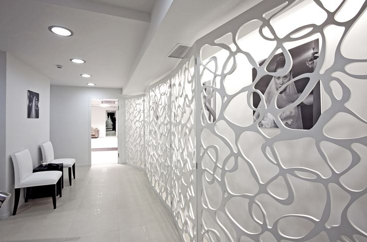 cnc Lazer cut panels, organic form white panels