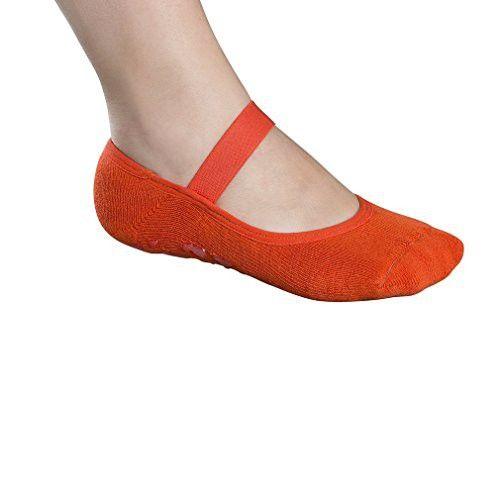 Lupo Women's Butterfly Terry No Slip Yoga Barre House Grip Socks, Large Orange