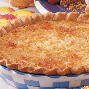 "Coconut Pineapple Pie Recipe -""I found this tropical custard pie in an old church cookbook in my collection,"" informs Judi Oudekerk of Buffalo, Minnesota. ""When I sent one to the office with my husband, one of his co-workers said, 'It doesn't get any better than this.'"""