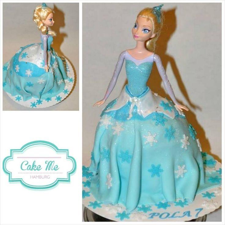 frozen princess cake for girl birthday snowflakes blue fondant with barbie! Cake Me Hamburg