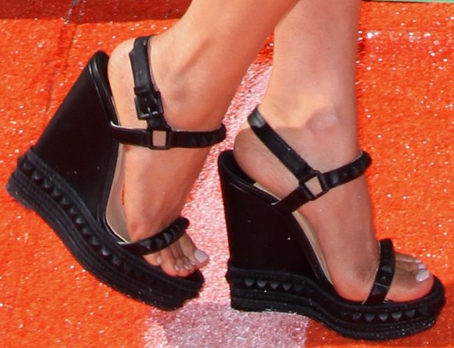Megan Fox Flaunts Post-Baby Body in Studded Wedge Sandals