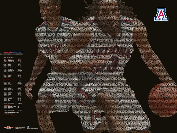 Arizona Basketball Poster featuring names of players, coaches and accomplishments