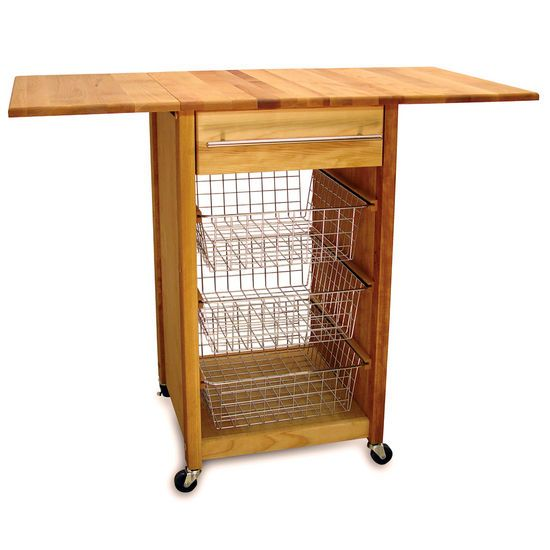 This kitchen serving cart by Catskill features a drop leaf design.  The mobile kitchen cart has locking casters for easy maneuverability.  This kitchen utility cart ships via UPS.