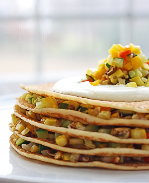Roasted Veggie Crepe Stacks with Creamy Goat Cheese Sauce - SO easy!