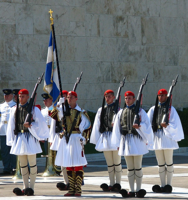 Evzones i.e. presidential guards in traditional uniform in front of the Parliament, Athens, Greece
