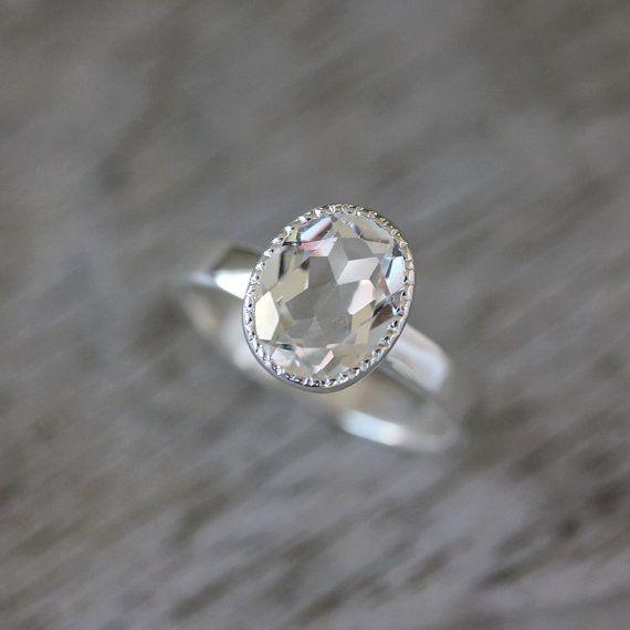 Vintage Inspired Handmade Engagement Ring,  Milgrain White Topaz Ring in Sterling Silver, Made To Order on Etsy, $218.00