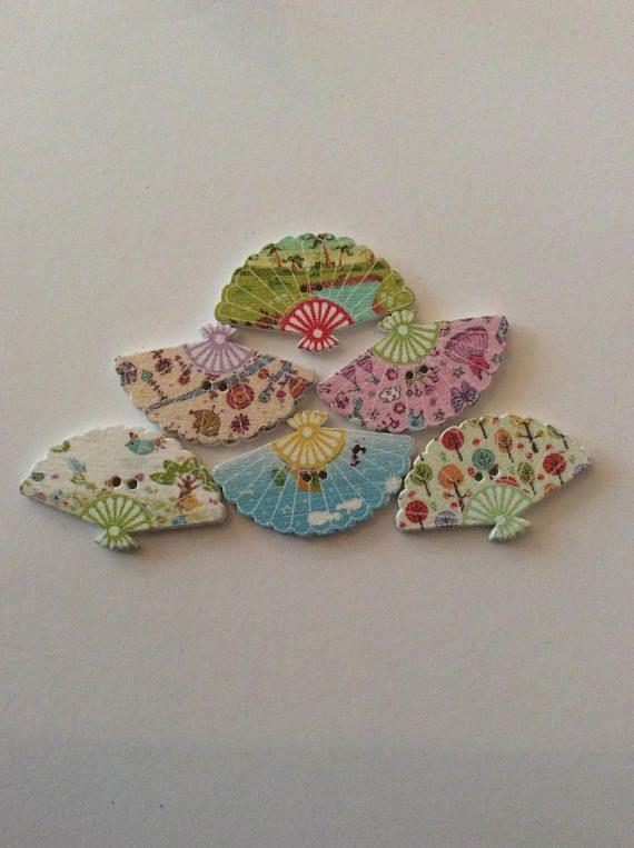 6 Fan Buttons/Oriental Buttons/wooden Fan Buttons/Craft sewing