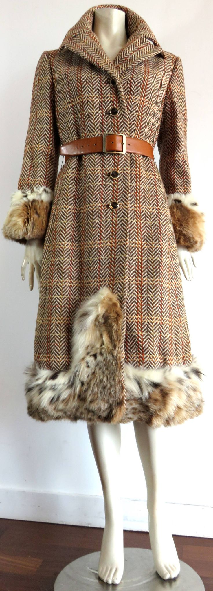 1970 CHRISTIAN DIOR NY Wool tweed & Lynx fur coat