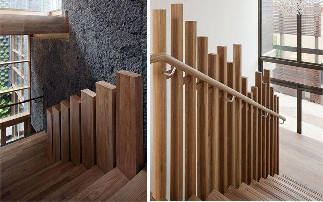 M s de 25 ideas incre bles sobre barandas para escaleras for Escalera madera sodimac