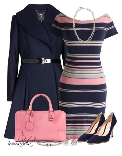 """Navy & Pink Combo"" by imclaudia-1 ❤ liked on Polyvore featuring Ted Baker, Superdry, Loewe, Gianvito Rossi, NAKAMOL and David Yurman"