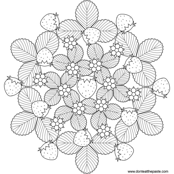 Strawberry mandala to print and color- also available in jpg format