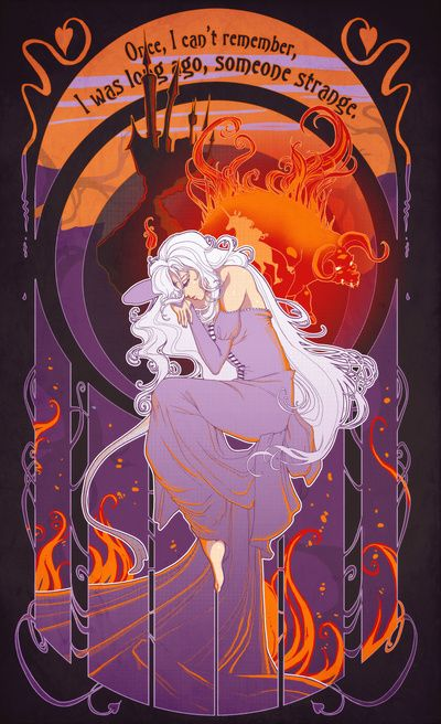 The Last Unicorn Art Nouveau print <3 one of my most fav movies!!!