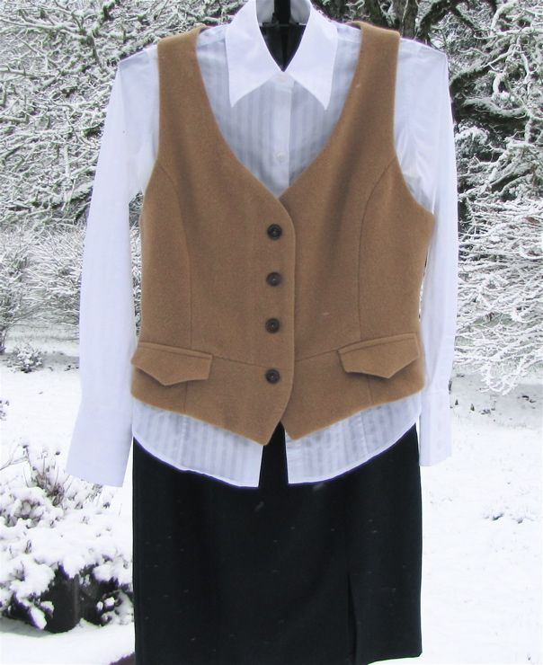 UPcycled mans camels hair sport jacket made into a woman's vest.