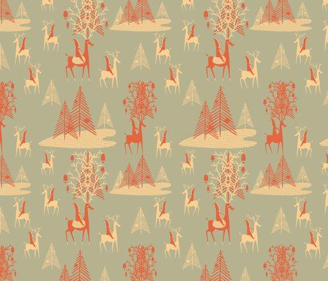 Trees & Elf fabric from Spoonflower