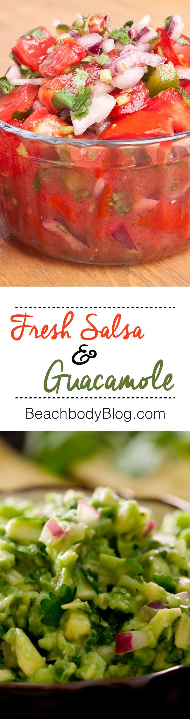 No party is complete without this dynamic dip duo of fresh salsa and guacamole! Pair them with homemade tortilla chips to wow your guests even more. // healthy recipes // snacks // vegetarian // eat clean // side dishes // dips // Beachbody // BeachbodyBlog.com