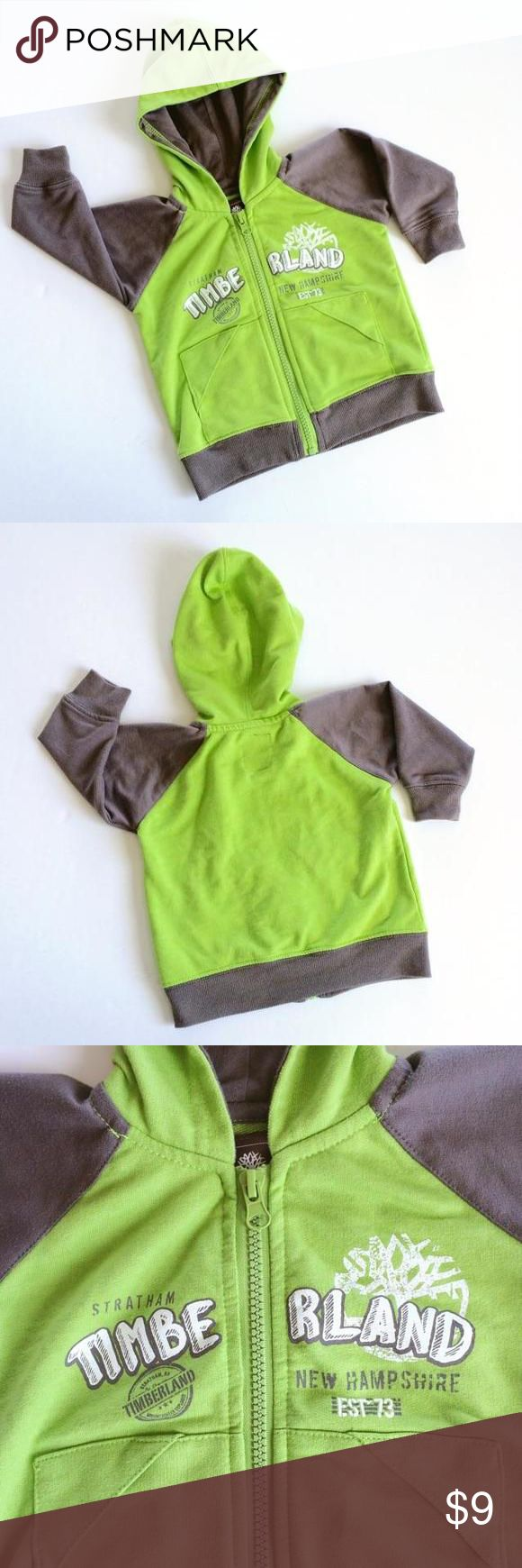 Timberland Hoodie Lime green and gray zippered hoodie. Lightweight and soft. Timberland Shirts & Tops Sweatshirts & Hoodies