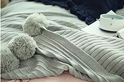 "Amazon.com: DOKOT Cotton Knitted Throw Blanket, Sofa/Bedding/Couch Cover with Pom Poms (59"" x 79"", Gray): Bedding & Bath"