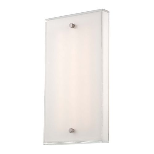 Modern LED Sconce Wall Light with White Glass in Brushed Nickel Finish at Destination Lighting