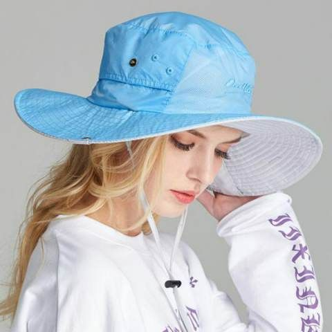 Quick drying fishing bucket hat with string for women UV protection outdoor sun hats