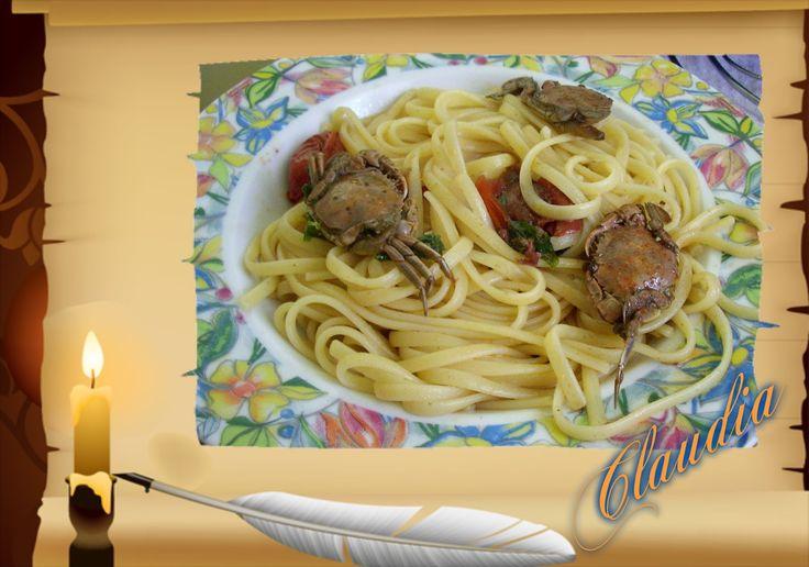 la passione di cigno...la cucina: LINGUINE CON TELLINE E GRANCHI DI MARE