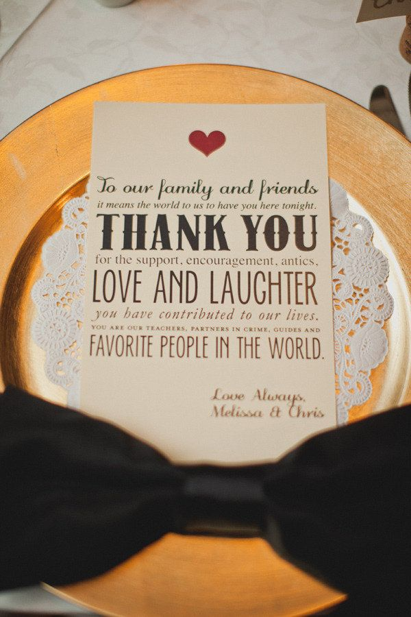 A thank you to your wedding guests at each place setting.
