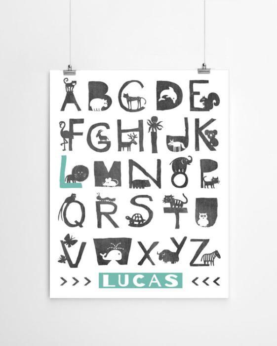 Alfabet dieren poster met naam