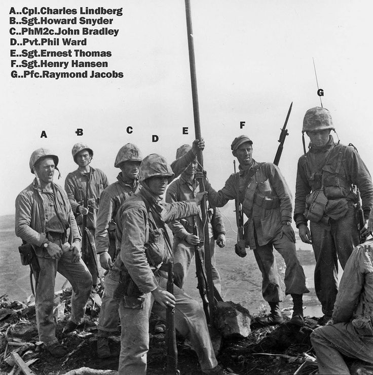 1st flag raisers on iwo jima