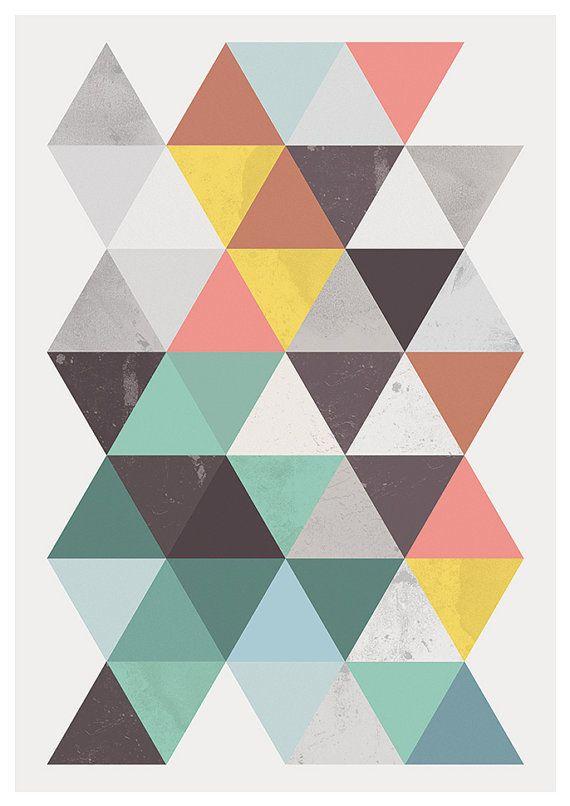 Cartel abstracto arte geomertric arte escandinavo pared por handz