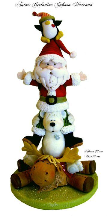 Winter Stack cake topper or polymer figures