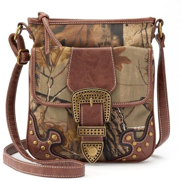 Realtree Camouflage Buckle Crossbody Bag (Brown) ($24) ❤ liked on Polyvore featuring bags, handbags, shoulder bags, brown, accessories handbags, brown leather purse, brown crossbody and camo purse