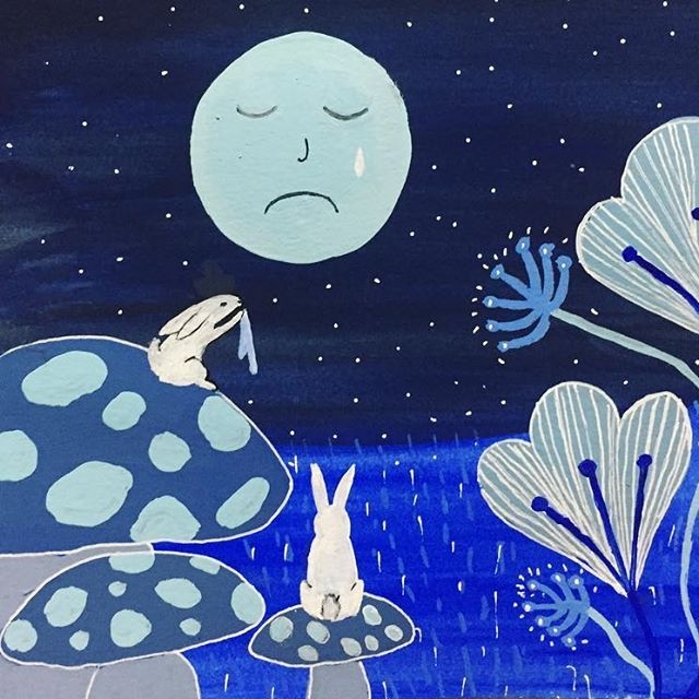 Please Don't Be Blue Moon Illustrated by Clay Horses Design      #moon #bluemoon #blue #moonrabbits #rabbit #bunnies #drawing #illustration #opusdailypractice #painting #gouache #illustration #mushrooms #plants #stars #nightsky #colboltblue