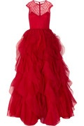 Valentino's signature shade of red in a voluminous skirt of silk-organza tumbling ruffles, lace bodice & delicate bow