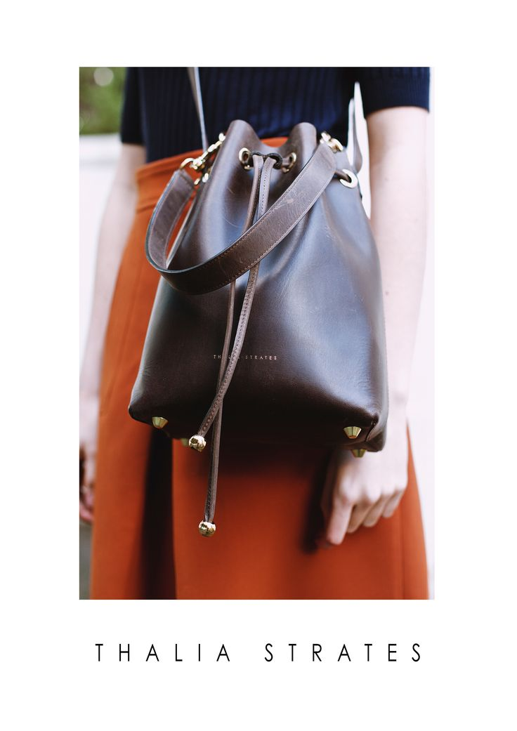 Thalia Strates Mini Bucket Bag in coffee and gold