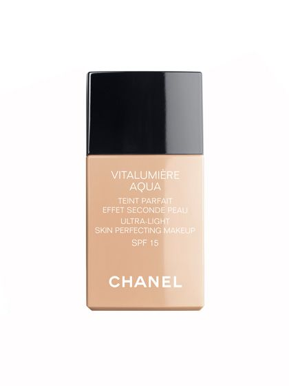 Water-based foundations, such as Chanel Vitalumiere Aqua Ultra-Light Skin Perfecting Makeup, are lightweight and natural-looking, yet still moisturizing enough to smooth and plump the skin