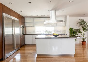balance of white and wood, backsplash is semi glass paint only