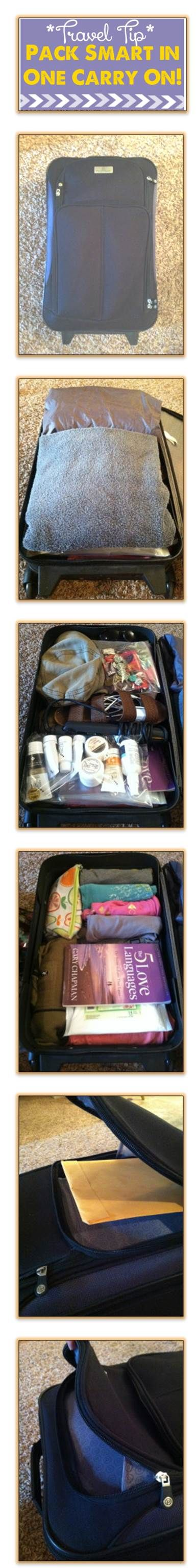 Everything has multiple functions or will be used more than once. (swimsuit coverup/scarf). Pack lightest weight clothing, rolled tightly. Wear thick/heavy clothing or shoes on plane. For warmth, thin hooded fleece+raincoat. All accessories in sandwich Ziplock. Take thinnest towel(opt). Take lighter book. Limit your toiletries to 1 Quart Ziplock no bigger than 3.4 oz. bottles as per airline regs. Manilla envelope: boarding passes, passports+documents together+secure. Never leave bag…